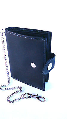Brand New Genuine Black Leather Bifold Wallet Credit Card Holder With Chain