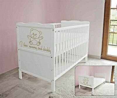 Wooden Baby Cot Bed -Mattress✔Converts to Toddler Bed - I Love Mummy and Daddy