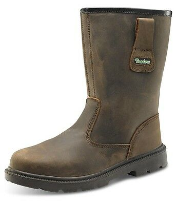Click Workwear Mens Leather Safety Rigger Work Boot In Brown Size 8