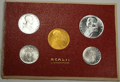 1952 Vatican 5 Coin Mint Set in Original Packaging Gold 100 Lira
