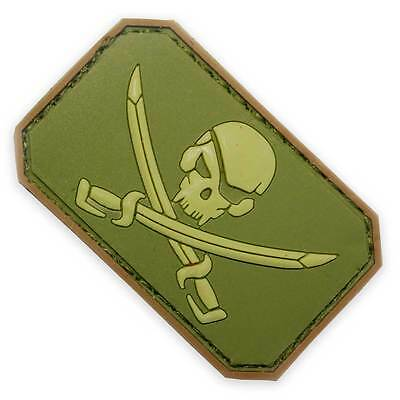 3D PVC Pirate Skull & Swords Army Military Biker Tactical Morale Patch Green
