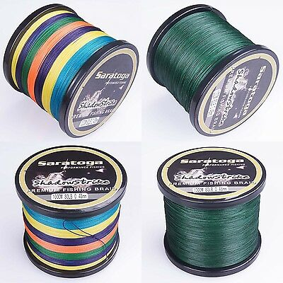 8 Strands Saratoga PE Dyneema Braided Fishing Line Multi-Color/Yellow/Green