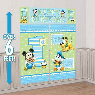 Disney Mickey Mouse 1st Birthday Scene Setter Banner Wall Party Decoration Kit