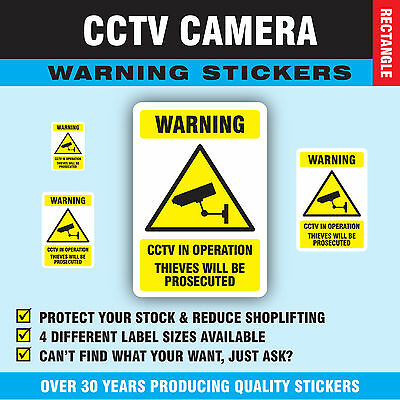 'CCTV In Operation Thieves Will Be Prosecuted' Stickers Sticky Swing Tag Labels