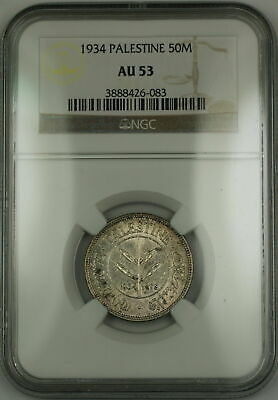 1934 Palestine 50M Mils Silver Coin NGC AU-53