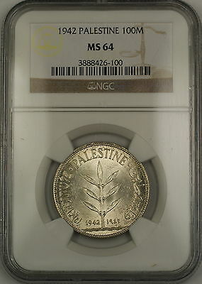 1942 Palestine 100M Mils Silver Coin NGC MS-64 Very Choice BU *Scarce Condition*