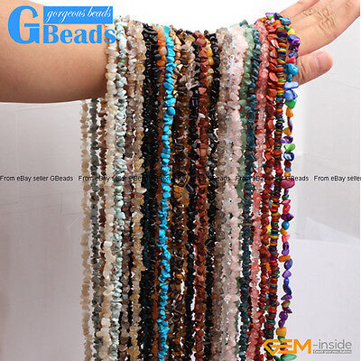 """Assorted Stones 5-8mm Chips Stone Freeform Nugget Gravel Beads Strand 34"""" & 15"""""""