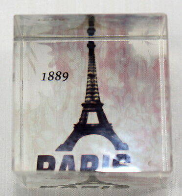 Paris Eiffel Tower Glass Square Paperweight