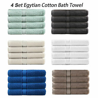 4 Pack Soft Egyptian Cotton Bath Towels 6 Colours Option Bathroom (70x140cm)
