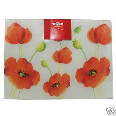 Rayware Alpine Poppy Glass Worktop Protector Saver Cutting Chopping Board Flower