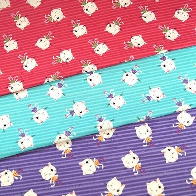 100% Cotton Fabric Winking Diva Kitty Cats On Candy Stripe Lines 150cm Wide