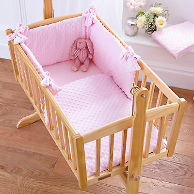 New Clair De Lune Dimple Pink Rocking Crib Girls 2 Piece Quilt & Bumper Set