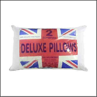 Pair of Superfirm Deluxe Pillows Luxury White 100% Hollow Fibre Filled