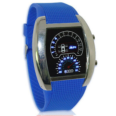 Men Racing Car Dashboard Watches Blue LED Sport Waterproof Rubber Wristwatch