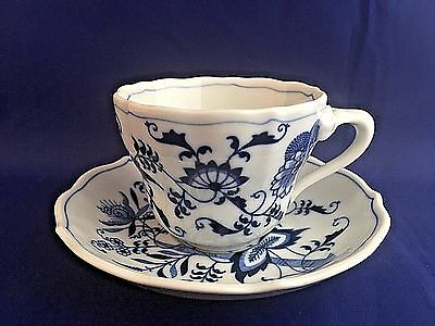 Blue Danube Blue Onion Pattern Teacup and Saucer Vintage China Japan