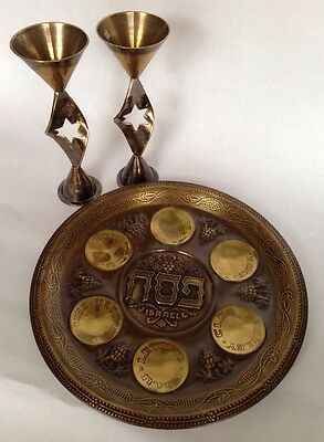 """Vintage 11.5"""" Metal Passover Seder Plate Wall Decoration Judaica Plus 2 Candles"""