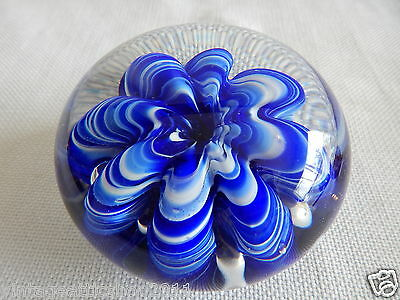 Vintage Collectors Joe St Claire BLUE Anemone Large Paperweight Marked Desk