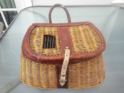 Vintage BEAUTIFUL Fishing Creel Made of Wicker and Leather Trim  and Handle