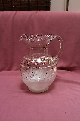 ANTIQUE Hand Blown Glass Pitcher Hand Painted Floral