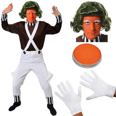 Oompa Loompa Instant Kit Factory Worker Wonka Face Paint Wig Gloves Braces 4 Pc