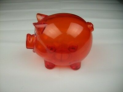 Clear Hard Plastic Pig Coin Piggy Bank Red With Stopper