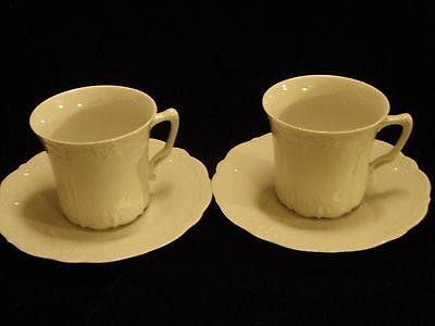 2 Baronesse White Cup & Saucers by Tirschenreuth