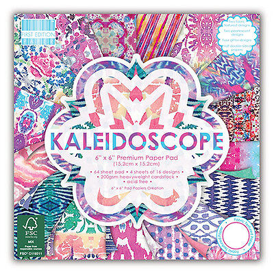 NEW 64 SHEET FULL 6 x 6 FIRST EDITION KALEIDOSCOPE CARD MAKING BACKING PAPER