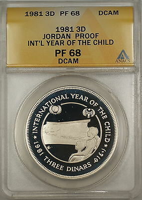 1981 Year of the Child Proof Jordan 3D Dinars Silver Coin ANACS PF-68 DCAM
