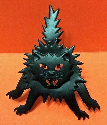 Halloween Large Black Scary Cat W/ Red Eyes Brooch