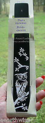 WISE OWL STICK INCENSE BURNER 255 mm Wicca Witch Pagan Goth PAINTED WOODEN