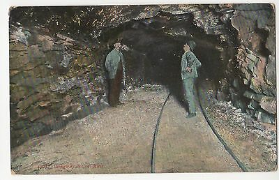 """Coal mining postcard 1909 """"Gangway at Coal Mine"""" w/miner to Kansas colorized"""