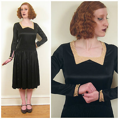 Vintage 1920s 20s Long Sleeved Day Dress Black Satin Crochet Lace Ruching Small