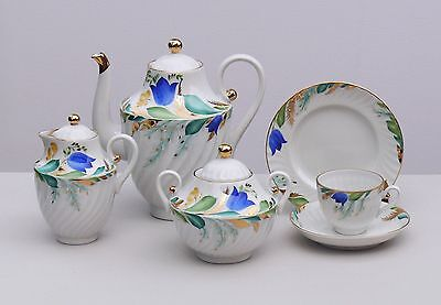 Coffee set 6/21 pcs BELL, 22K-gold, Lomonosov / Imperial Porcelain, Russia