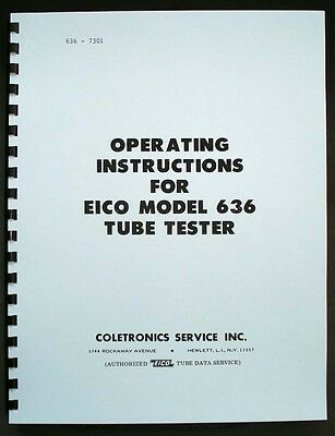 EICO 636 Tube Tester Manual with 1973 Tube Test Data
