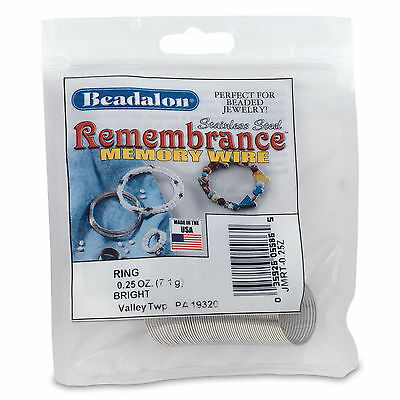 Beadalon Remembrance Memory Wire, Ring 49 coils 0.62mm Bright