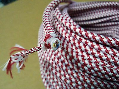 Vintage 3-Wire Round Cloth Covered Wire Antique Lamp Cord Houndstooth Red White