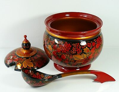 Huge Bowl /Tureen with Ladle, Golden Khokhloma, Intricate Hand-Painting, GIFT