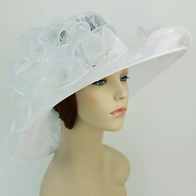 New Church Kentucky Derby Party Wedding Organza Lace Dress Hat 1593 White