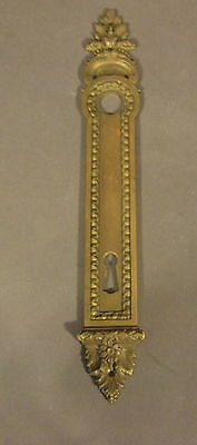 Antique Art Deco Heavy  Brass Door Knob Backplate With Keyhole (H11)