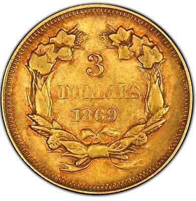Very Rare 1869 Indian Princess Head $3 Vf Details,  Us Gold Coins,