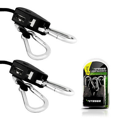 "VIVOSUN 1 Pair 1/8"" Rope Ratchet Adjustable Heavy Duty Grow Light Hangers 150lbs"