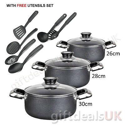 3 Pcs Home Kitchen Cookware Aluminium Non Stick Casserole Pan Set Free Utensils