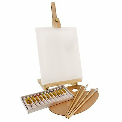 US Art Supply 19pc Oil Painting Set With Table Easel, Canvas, 12 Colors, Brushes