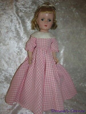"Vintage  Madame Alexander 15"" Hard Plastic Little Women Meg In Pink Check Dress"