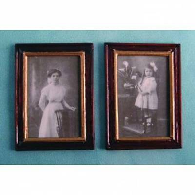 Two Black & White Wood Framed Pictures, Doll House Miniatures 1.12 Scale