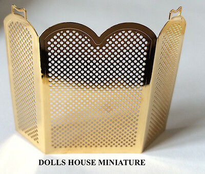 Brass Fire Screen, Dolls House Miniature Fireplace Accessory 1.12th Scale