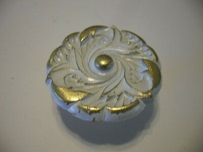 Vintage NOS White & Brass Metal Knobs Cabinet Door Drawer Pulls Flower Pattern