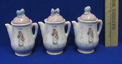 Set 3  Precious Moments 1995 Miniature Mini Teapot w/ Lid Girl Ginger Pastel