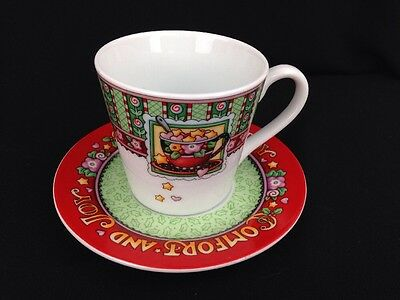 """Mary Engelbreit """"Comfort and Joy"""" Christmas Tea Cup Saucer Set Gift Collectible"""
