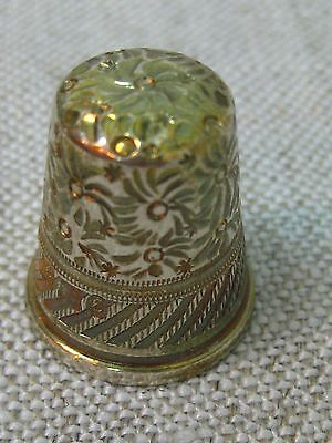 Vtg Antique German Sterling Silver Gold Washed Thimble